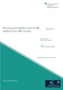 Efficiency and welfare costs of VAT: evidence from VAT notches