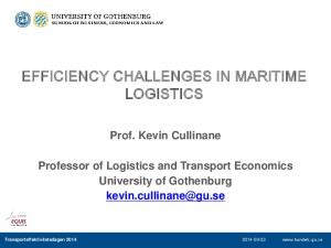 EFFICIENCY CHALLENGES IN MARITIME LOGISTICS