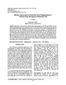 Efficiency Improvement on Photovoltaic Water Pumping System by Automatic Water Spraying over Photovoltaic Cells