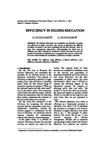 EFFICIENCY IN HIGHER EDUCATION
