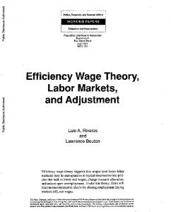 Efficiency Wage Theory, Labor Markets, and Adjustment: