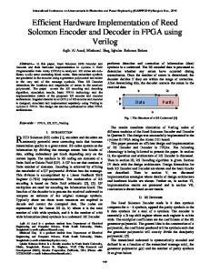 Efficient Hardware Implementation of Reed Solomon Encoder and Decoder in FPGA using Verilog