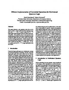 Efficient Implementation of Controlled Operations for Multivalued Quantum Logic