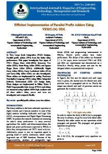 Efficient Implementation of Parallel Prefix Adders Using VERILOG HDL