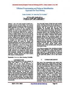 Efficient Preprocessing and Patterns Identification Approach for Text Mining