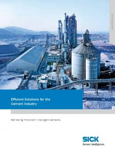 Efficient Solutions for the Cement Industry. Achieving more with intelligent sensors