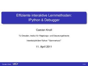 Effiziente interaktive Lernmethoden: IPython & Debugger