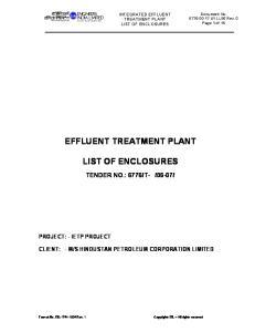 EFFLUENT TREATMENT PLANT LIST OF ENCLOSURES
