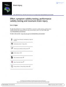 Effort, symptom validity testing, performance validity testing and traumatic brain injury