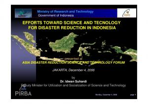 EFFORTS TOWARD SCIENCE AND TECNOLOGY FOR DISASTER REDUCTION IN INDONESIA