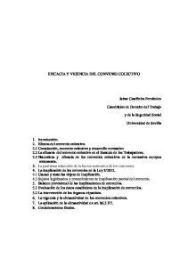 EFICACIA Y VIGENCIA DEL CONVENIO COLECTIVO