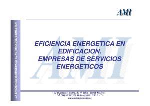 EFICIENCIA ENERGETICA EN EDIFICACION. EMPRESAS DE SERVICIOS ENERGETICOS