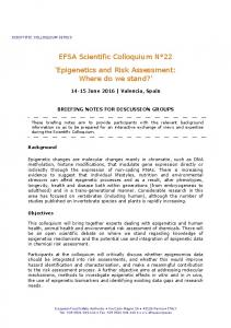 EFSA Scientific Colloquium N 22 Epigenetics and Risk Assessment: Where do we stand?