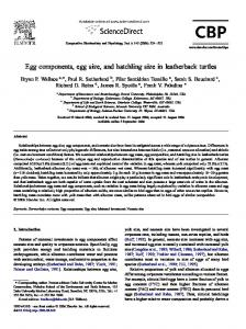 Egg components, egg size, and hatchling size in leatherback turtles