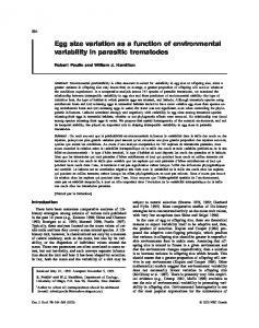 Egg size variation as a function of environmental variability in parasitic trematodes