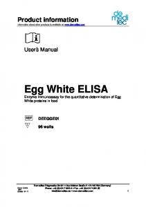 Egg White ELISA Enzyme Immunoassay for the quantitative determination of Egg White proteins in food