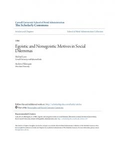 Egoistic and Nonegoistic Motives in Social Dilemmas