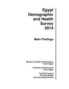 Egypt Demographic and Health Survey 2014