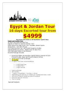 Egypt & Jordan Tour 16 days Escorted tour from $4999