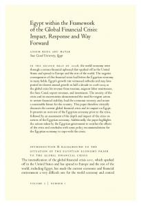 Egypt within the Framework of the Global Financial Crisis: Impact, Response and Way Forward