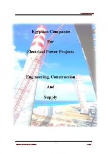 Egyptian Companies. For. Electrical Power Projects. Engineering, Construction. And. Supply