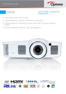 EH416. Full HD 1080p - kompakt und leistungsstark. Heller 1080p Projektor mit Lumen
