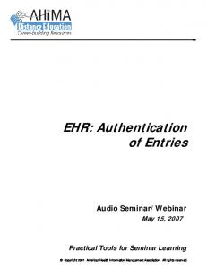 EHR: Authentication of Entries