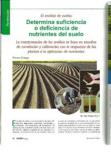 EI analisis de suelos: Determina suficiencia o deficiencia de nutrientes del suelo