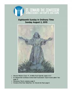 Eighteenth Sunday in Ordinary Time Sunday August 2, 2015