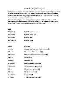 Eighth Grade Spelling & Vocabulary Lists