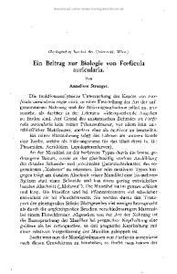 Ein Beitrag zur Biologie von Forficula auricularia