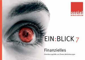 EIN:BLICK 7. Finanzielles. Orientierungshilfe zum Thema Behinderungen