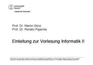 Einleitung zur Vorlesung Informatik II!