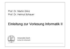Einleitung zur Vorlesung Informatik II