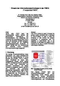 Einsatz der Informationstechnologie in der FMEA IT-supported FMEA