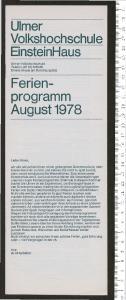 EinsteinHaus. Ferienprogramm August 1978