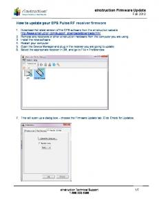einstruction Firmware Update Fall 2010 How to update your CPS Pulse RF receiver firmware