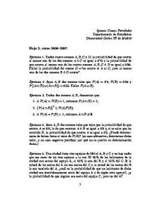 Ejercicio 2. Sean A, B dos sucesos tales que P (A) = 0 4, P (B) = 0 65 y P ( (A B) (A B) ) = Hallar P (A B)