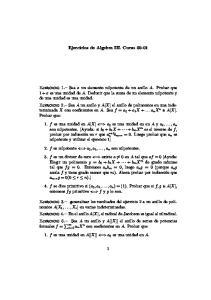 Ejercicios de Algebra III. Curso 00-01