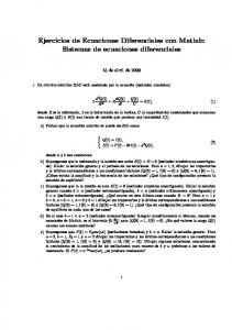 Ejercicios de Ecuaciones Diferenciales con Matlab: Sistemas de ecuaciones diferenciales