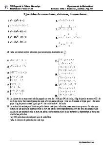 Ejercicios de ecuaciones, sistemas, inecuaciones
