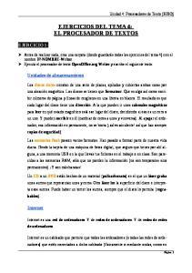 EJERCICIOS DEL TEMA 4: EL PROCESADOR DE TEXTOS