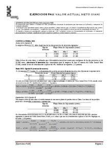 EJERCICIOS PAU: VALOR ACTUAL NETO (VAN)