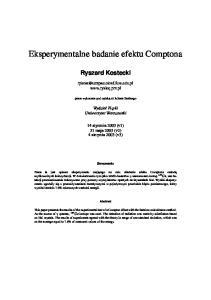 Eksperymentalne badanie efektu Comptona