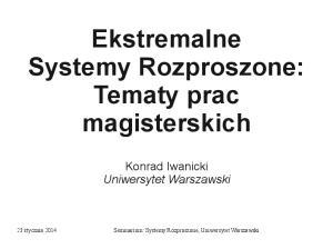 Ekstremalne Systemy Rozproszone: Tematy prac magisterskich
