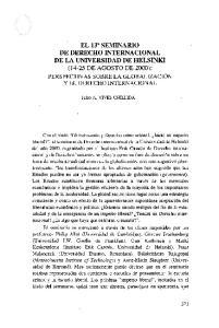 EL 13 SEMINARIO DE DERECHO INTERNACIONAL DE LA UNIVERSIDAD DE HELSINKI