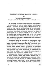 EL ABORTO ANTE LA FILOSOFIA TOMISTA