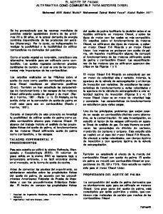 EL ACEITE DE PALMA: ALTERNATIVA COMO COMBUSTIBLE PARA MOTORES DIESEL