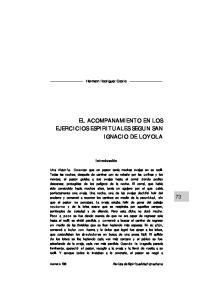 EL ACOMPANAMIENTO EN LOS EJERCICIOS ESPIRITUALES SEGUN SAN IGNACIO DE LOYOLA