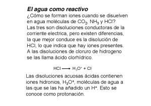 El agua como reactivo
